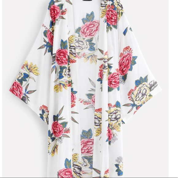 Swim Floral Open Kimono White Wear Cover Up Poshmark